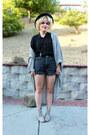 High-waist-grey-american-apparel-shorts-american-apparel-cardigan
