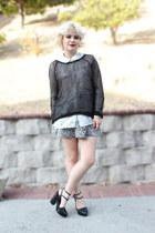 black mesh H&M top - Zara skirt