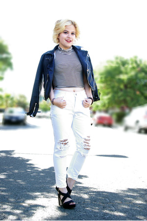 black faux leather Nasty Gal jacket - white ripped Front Row Shop jeans