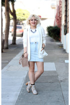 white H&M blazer - light pink Zara bag - light blue American Apparel skirt