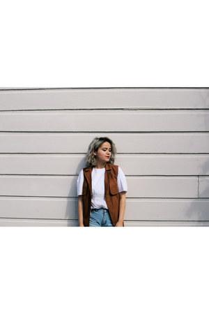 vest brown asos jacket - denim shorts Cheap Monday pants