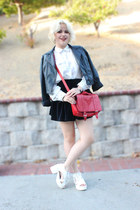 Ebay skirt - black leather Forever 21 jacket - red bag H&M bag
