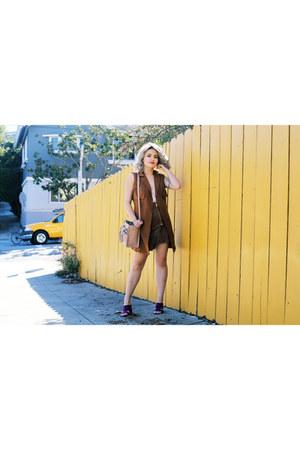 brown vest asos jacket - leather brown H&M skirt