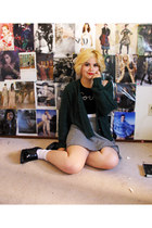 green asos cardigan - houndstooth brandy melville skirt
