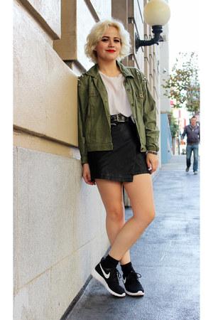 black white nike sneakers - Forever 21 skirt