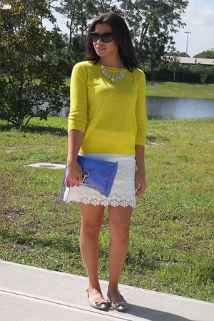 yellow J Crew sweater - violet Rebecca Minkoff bag