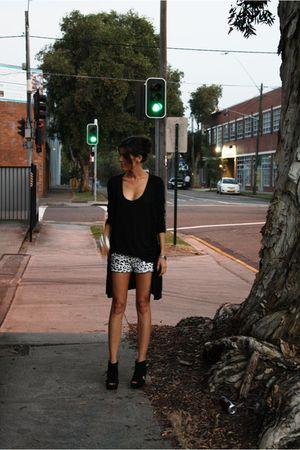 black Target Australia vest - black Seduce cardigan - white Target shorts - blac