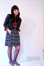 red Forever 21 shirt - black Tillys jacket - black thrifted skirt - beige Foreve