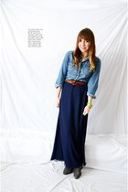 navy chiffon unknown skirt