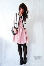 red H&M dress - black Wet Seal tights - white unknown sweater