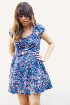 blue MissShop dress - silver flower ring random accessories - maroon Qupid wedge