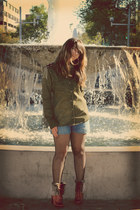 red boots - army green Zara shirt - black tights - blue Oysho shorts