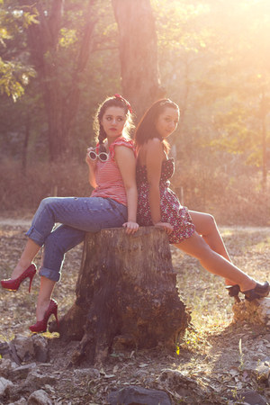 ruby red studded Promise heels - bubble gum floral print Zara dress - blue jeans