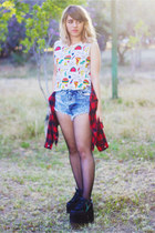 white Forever 21 blouse - red Zara shirt - blue acid wash Shasa shorts