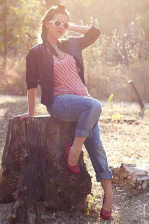 blue jeans - black faux leather Zara jacket - red Zara shirt - white sunglasses