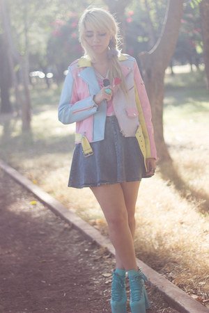 bubble gum pastel UNIF jacket - turquoise blue hellbounds UNIF boots