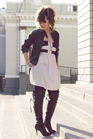 black boots - beige Zara dress - black faux leather Zara jacket - red lipstick B