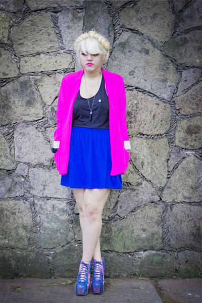 Zara blazer - cosmic Jeffrey Campbell boots - tank top Zara top - Zara skirt