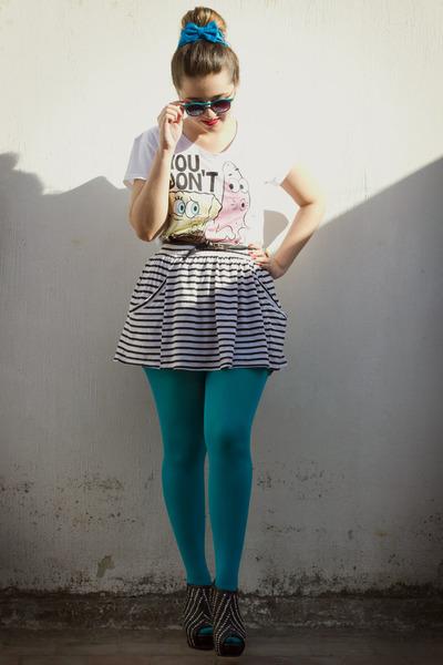 turquoise blue random brand tights - turquoise blue random brand sunglasses - wh