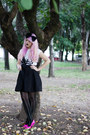 Black-zara-skirt-black-bow-headband-bershka-accessories