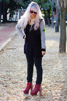 black Shopcalico sunglasses - ruby red lita spike Jeffrey Campbell boots
