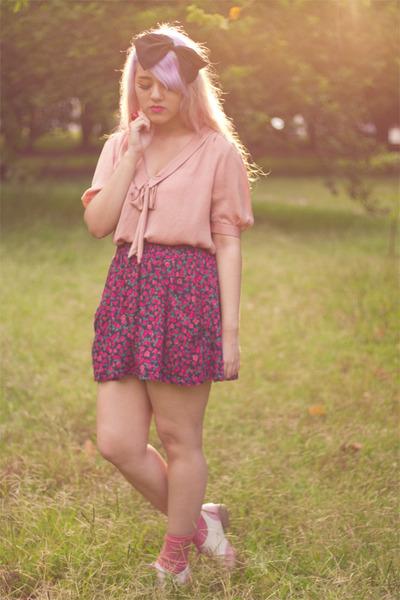 Zara blouse - oxfords Bamboo shoes - glitter Bershka socks