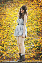 dark brown Bershka boots - heather gray nikibiki romper - black Zara belt