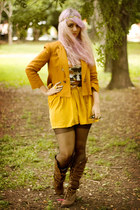 dark brown Nature Breeze boots - burnt orange Zara blazer - mustard Zara skirt