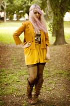 dark brown Nature Breeze boots - burnt orange Zara blazer - mustard Zara skirt