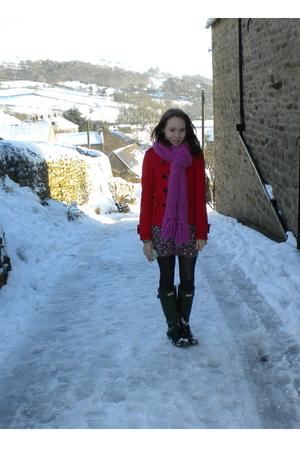 red H&M coat - pink Oxfam scarf - blue Clothes Show Live dress - black Aristoc t