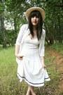 White-vintage-prada-dress-cream-thrifted-vintage-hat-white-thrifted-vintage-