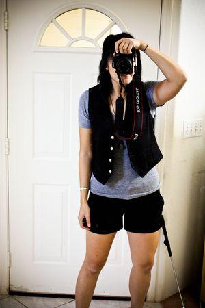 black f21 shorts - gray American Apparel shirt - black vintage vest - gray rando