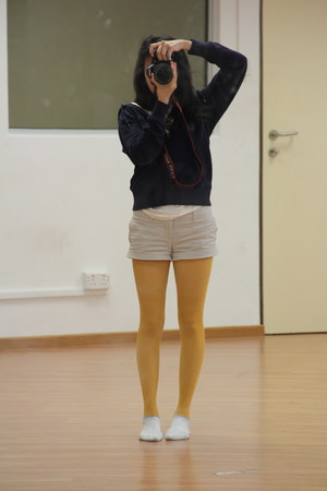Muji socks - Topshop i think tights - cotton on shorts - Gap hoodie