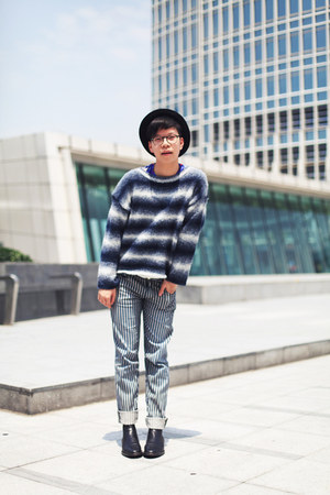 black COS boots - black H&M hat - navy Monki jumper