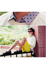 Yellow-h-m-shorts-black-spiked-loafers-unif-loafers