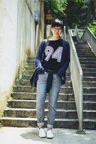 navy Lane Crawford jeans - black Givenchy bag - navy Zara cardigan