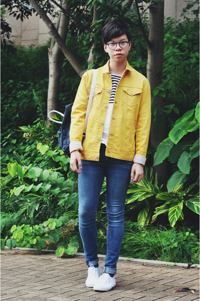 white Superga shoes - sky blue H&M jeans - yellow denim Journal Standard jacket