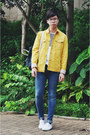 White-superga-shoes-sky-blue-h-m-jeans-yellow-denim-journal-standard-jacket
