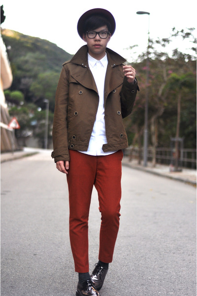 brick red wool H&M hat - beige metallic DrMartens shoes - brown H&M jacket