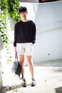White-american-apparel-shorts-black-zara-jumper