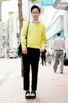 yellow Zara sweater - black Underground shoes