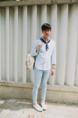 light blue H&M jeans - white Superga sneakers