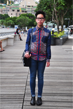 blue baroque print Zara top