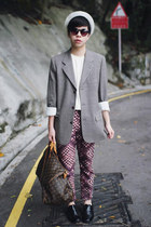 crimson H&M pants - white H&M hat - heather gray calvin klein blazer
