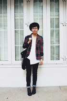 brick red tartan Zara blazer - black COS boots - black H&M hat