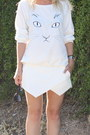 Wrap-skort-zara-skirt-kitty-face-choies-sweater-basic-sandal-zara-heels