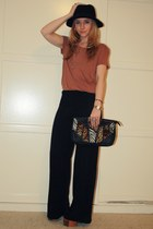 burnt orange H&M shirt - black Aldo bag - black silky wideleg H&M pants - burnt