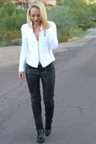 white tweed Zara jacket - black antik leather Zara boots