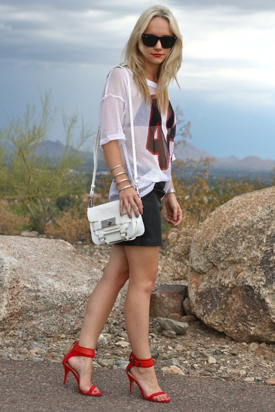 white Zara bag - white mesh jersey H&M shirt - black Zara skirt