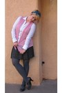 Grey-target-tights-blue-pink-plaid-orsay-skirt-pink-maurices-cardigan-whit